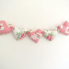 Shabby Chic Fabric Heart Garland