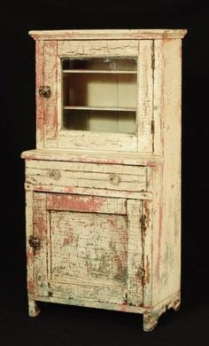 White Painted Childs Stepback Cupboard-Ohio