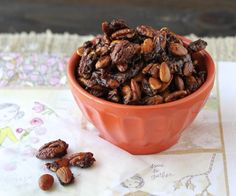 Roasted nuts seasoned with Pumpkin Pie Spice, maple syrup, and a pinch of cayenne pepper. A perfect fall snack!