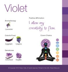 Violet color therapy card: I allow my creativity to flow. #purple #violet #affirmation #colortherapy #meditation #spirituality #amethyst
