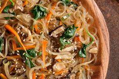 Japchae ( Korean Stir Fried Sweet Potato Noodles) Recipe.