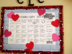 February board -- foam hearts from the $1 Store