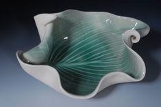 SALE Porcelain Pottery Green Bowl Modern Art  by WhiteEarthStudio, $65.00