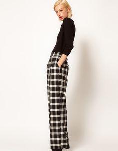 wide leg pants, fashion, cloth, check, style