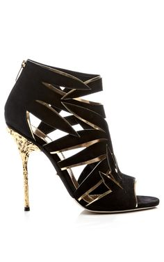 Ramage Suede and Metallic Leather Sandals by Sergio Rossi