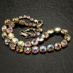 Amael Aurora Borealis Rhinestone Choker Vtg Necklace