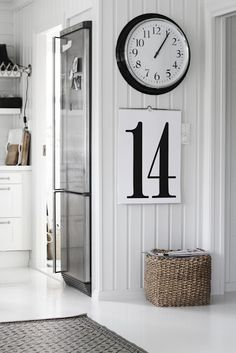 LOVE!paneled walls, big clock, basket, calendar clock, wall decorations, laundry rooms, black white, kitchen corner, number, baskets, calendar, white kitchens
