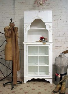 Painted Cottage Chic Shabby White Farmhouse by paintedcottages, $495.00 Bookcases, Cottage Chic, Chic Shabbi, Shabbi White, Beads, Appliques, Vintage Dress Forms, Old Cabinets, China