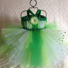 St  Patricks Day greeen polka dot tutu dress baby by TheFabuTutu, $30.00