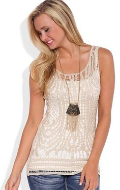 Deb Shops Sparkly Crochet Tank Top with Solid Back $18.00