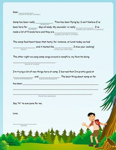 Fill-in-the-Blanks Camp Letters (Printable Activity for Kids) | Spoonful  b/c I just want one letter that tells me she's actually enjoying herself.