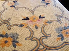 Vintage Chenille Bedspread Full / Queen Florals and Scrolls