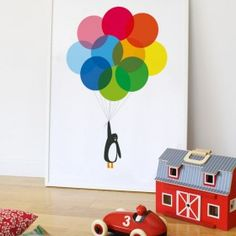 Mr Pengiun with Balloons Print by Showler & Showler - available from Nubie Kids Boutique | Nubie - Modern Baby Boutique