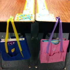 Bags at the dollar store for each student to store their independent reading books,  reading response notebooks, writer's notebooks, word work notebooks, post-it notes and a pencil.  I put a command hook on each desk for them to keep their bag.  It has been so much easier than finding a place to store bulky book boxes and the kids love to carry them around the classroom.