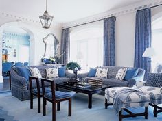 White and Blue  Room   Blue-and-White Living Room - MyHomeIdeas.com