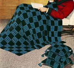 Make a unique granny square blanket and matching pillows with a free crochet pattern. The Checkmate Afghan and Crochet Pillow Patterns have a vintage crochet look that you'll love.  | AllFreeCrochetAfghanPatterns.com