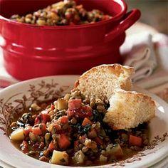 Lentil Stew with Ham and Greens | MyRecipes.com