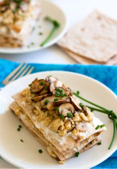 Scrambled Egg Stacks with Cheese and Mushrooms.