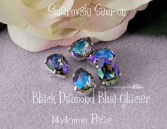 Black Diamond Blue Glacier Sew On - Swarovski Crystal 14x10mm 4320 in a SP 4-hole Prong Setting - Wire Jewelry Supply - Component