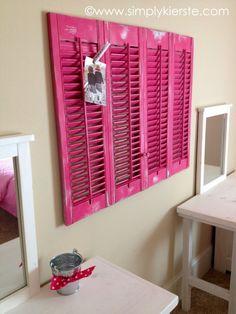 Cute idea - shutters where no window or shutters as bulletin board above a desk
