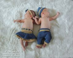 Crochet Twin Pants/Hat and Skirt Diaper by CrochetItBaby on Etsy, $8.00