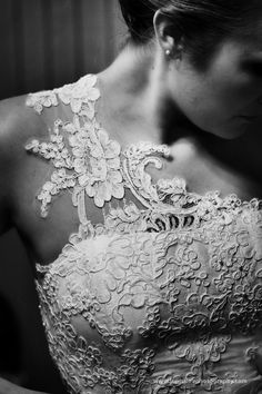 One shoulder. Lace wedding dress.