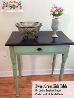 Lindsay Tompkins Krakeeel, changed the top of the green table by staining it with General Finishes Java Gel Stain.  Looks great!Looking for place to buy GF products? You can find our paints, glazes, water based and oil based stains and topcoats (including the One Can Wonder, Java Gel) at Woodcraft and Rockler Woodworking stores or use your zip code to find a retailer near you at http://generalfinishes.com/where-buy#.UvASj1M3mIY. Limited selections also available at www.leevalley.com in Canada. #generalfinishes #javagelstain