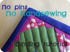 no pins, no hand-sewing binding tutorial.