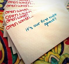 """""""Open When..."""" letters. I love this idea. You can give this as a gift on the day of your wedding!"""