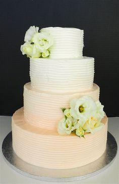 Buttercream Peach Ombre Wedding Cake fondant, buttercream ombr, peach weddings, colors, purple flowers, wedding cakes, factories, hotels, ombr cake