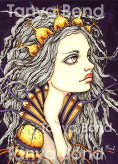 MAIREAD - beautiful sea princess - surreal pop fantasy art - 5x7 print of an original painting by Tanya Bond, gyönyörű tengeri hercegnő