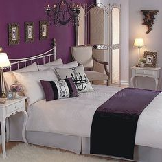 plum and BLACK PRINT bedroom | ... accessories in rich tones of plum and lavender complete the look