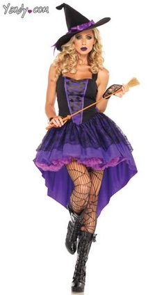 The two-piece, Broomstick Babe costume includes a mini dress with lace overlay skirt and matching hat with ribbon