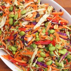 @Margaret Vincent came up with a brilliant adaptation of this Asian slaw: Start with this recipe, add some avocado, ginger-sesame chicken, and wonton strips from your fave Chinese restaurant and you've got CPK's Thai Crunch Salad. SO good.