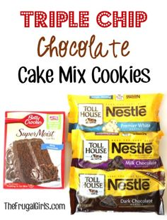 Triple Chip Chocolate Cake Mix Cookies Recipe - from TheFrugalGirls.com