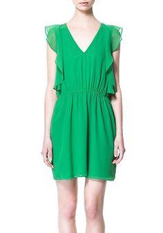 Green V-neck Cap Sleeve Above Knee Chiffon Dress