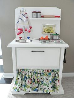 "A ""Play Kitchen"" made from a nightstand."