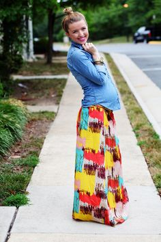 Love the skirt and chambray not to mention the adorable baby bump
