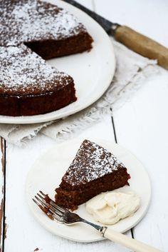 Whole orange chocolate almond cake with orange cinnamon cream.