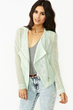 Angled Mesh Jacket in Mint