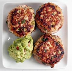 Paleo Jalapeño Chicken Burgers with guacamole, perfect for summer grilling season and still Whole30 compliant.