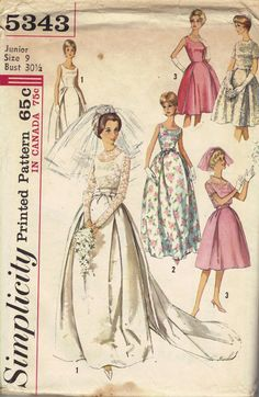 60s Wedding Dress Simplicity Sewing Pattern Bridal Gown Bridesmaid Cocktail Dress Long Short Pleated Full Skirt Sleeveless Mad Men Style. $14.00, via Etsy.