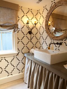 Wow, a combination of simple, modern, traditional, and eclectic.  Cool powder room.