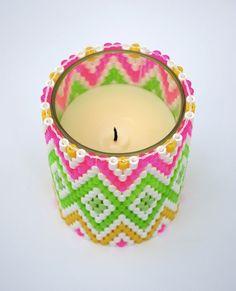 perler bead - woven perler bead candleholder - Perler-weaving - Hama -  - Fuse bead designs - Perler Bead - Perler bead art - #perlerbead