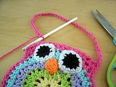 crocheted owl purse