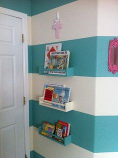 Project Nursery - Turquoise Striped and Pink Nursery Book Ledges love the shelves