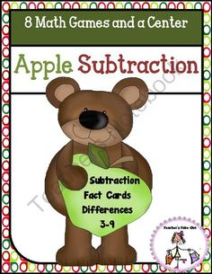 Apple Subtraction Games from Teachers Take Out on TeachersNotebook.com -  (25 pages)  - Learn those subtraction facts with these fun apple games