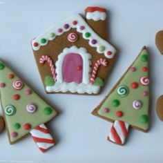Gingerbread House and Christmas Tree Cookies