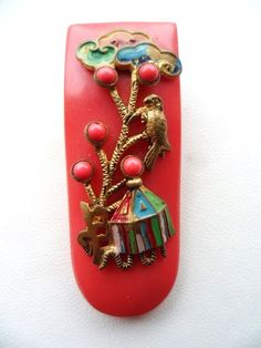 Vintage Art Deco Neiger Bros Galalith Dress Clip Oriental Pagoda Czech 1920s | eBay