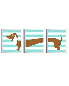 Nursery Girl Boy Art Dachshund Dog Kids Brown Light Turquoise Stripe Wall Decor Set of 3